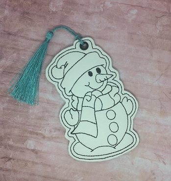 Snowman Coloring Bookmark Embroidery Design
